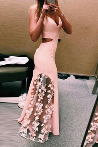 Unique Pink Lace Satin Mermaid Long Prom Dresses V Neck Cheap Evening Dresses JS673