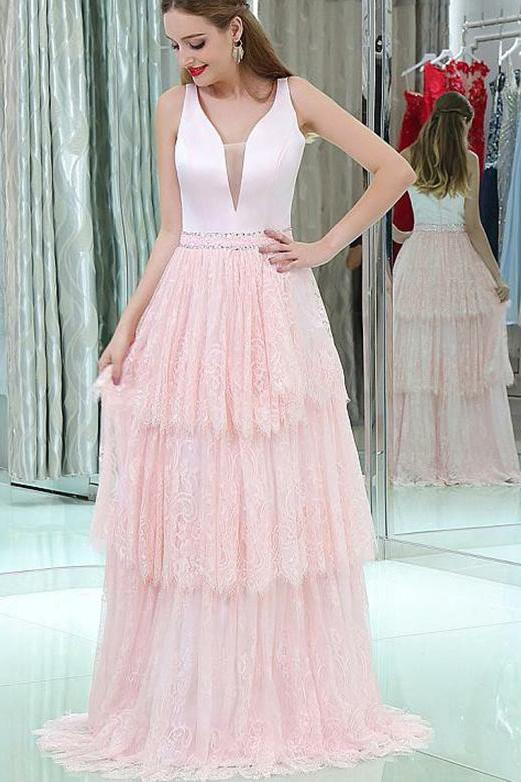 V-Neck Sleeveless Lace Long Pink Prom Dresses With Beading Tiered, Evening Dress PW460