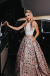 A Line Two Piece Floral Print Beautiful Prom Dresses with Pockets, Evening Dresses PW322
