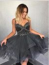 Cute Newest Spaghetti Straps Sweetheart Sleeveless Beads Organza Homecoming Dresses JS910