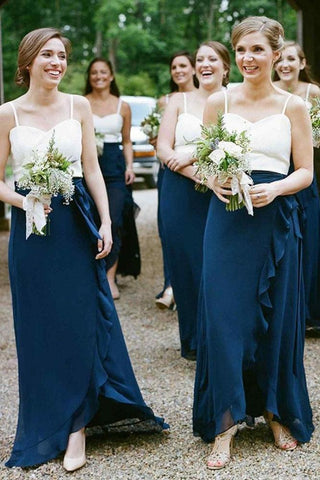 A-Line Spaghetti Straps Dark Blue Chiffon Bridesmaid Dresses With Ruffles Sweetheart PW344