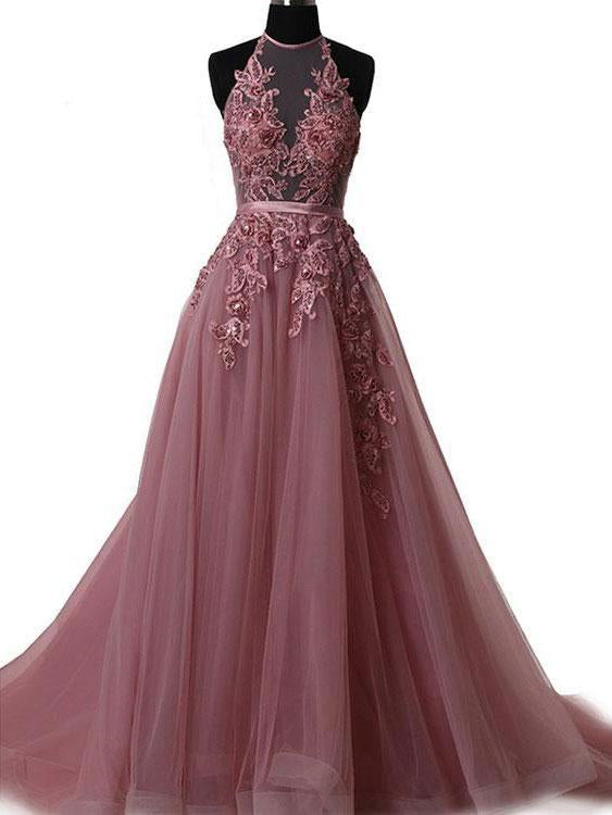 A Line Halter Lace Appliqued See-through Long Beads Lace up Tulle Backless Prom Dresses JS632