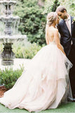 Ball Gown Spaghetti Straps V Neck Backless Asymmetrical Pink Long Wedding Dresses JS197