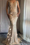 V Neck Long Mermaid Rhinestone Beaded Luxury Prom Dresses Backless Party Dresses PW453