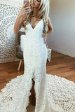V Neck Spaghetti Straps Backless Lace Boho Wedding Dress With Split Mermaid Bridal Dress PW999