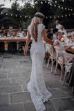 Vintage Lace Boho Mermaid Wedding Dresses Cap Sleeve Bohemian Bridal Gowns