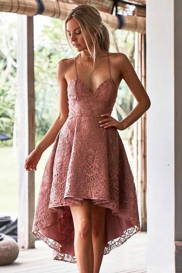 Vintage Dusty Rose High Low Lace Homecoming Dresses with Pocket V Neck Short Prom Dress JS952