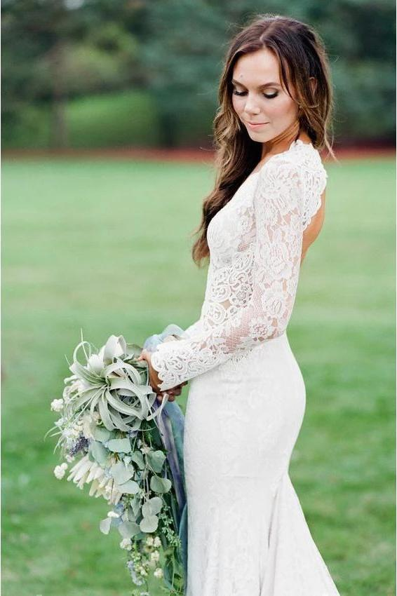 Vintage Long Sleeve Deep V Neck Mermaid Lace Wedding Dress Ivory Backless Bridal Dress W1067