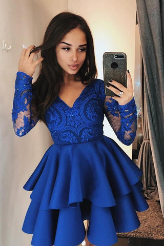 Vintage Long Sleeve Navy Blue V Neck Knee Length Homecoming Dresses with Lace JS855