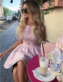 Cute A line Sleeveless Scoop Satin Pink Embroidery Short Homecoming Dresses H1302