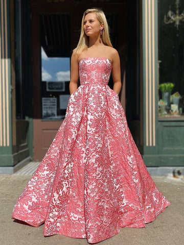 Strapless A Line Exquisite Lace Long Prom Dress with Pockets