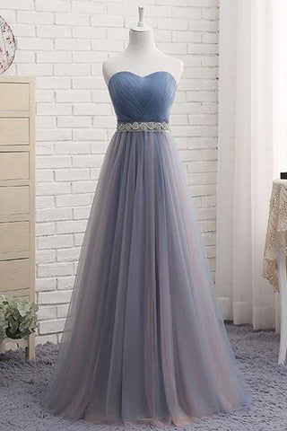 Cute A Line Sweetheart Tulle Blue Strapless Beads Prom Dress Bridesmaid Dresses JS807