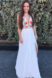 A Line V Neck White Embroidery Side Slit Chiffon Long Formal Dress Prom Dresses JS215