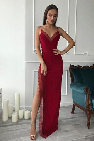 Burgundy Spaghetti Straps Side High Slit V Neck Satin Mermaid Long Prom Dresses JS311