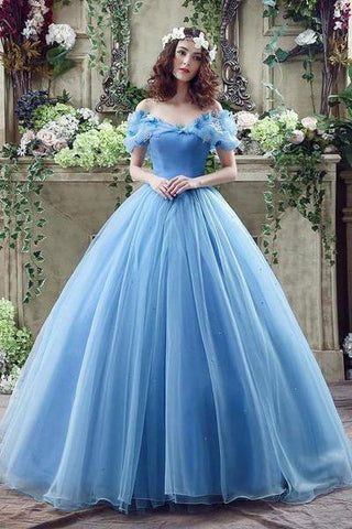 Elegant Ball Gown Off the Shoulder Blue Long Lace up Sweetheart Tulle Prom Dresses JS257