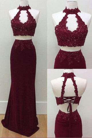 Mermaid Two Piece Burgundy Modest Long Halter Open Back Beads Prom Dresses JS186
