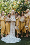 Yellow V Neck Spaghetti Straps High Low Bridesmaid Dresses Wedding Party Dresses BD1017