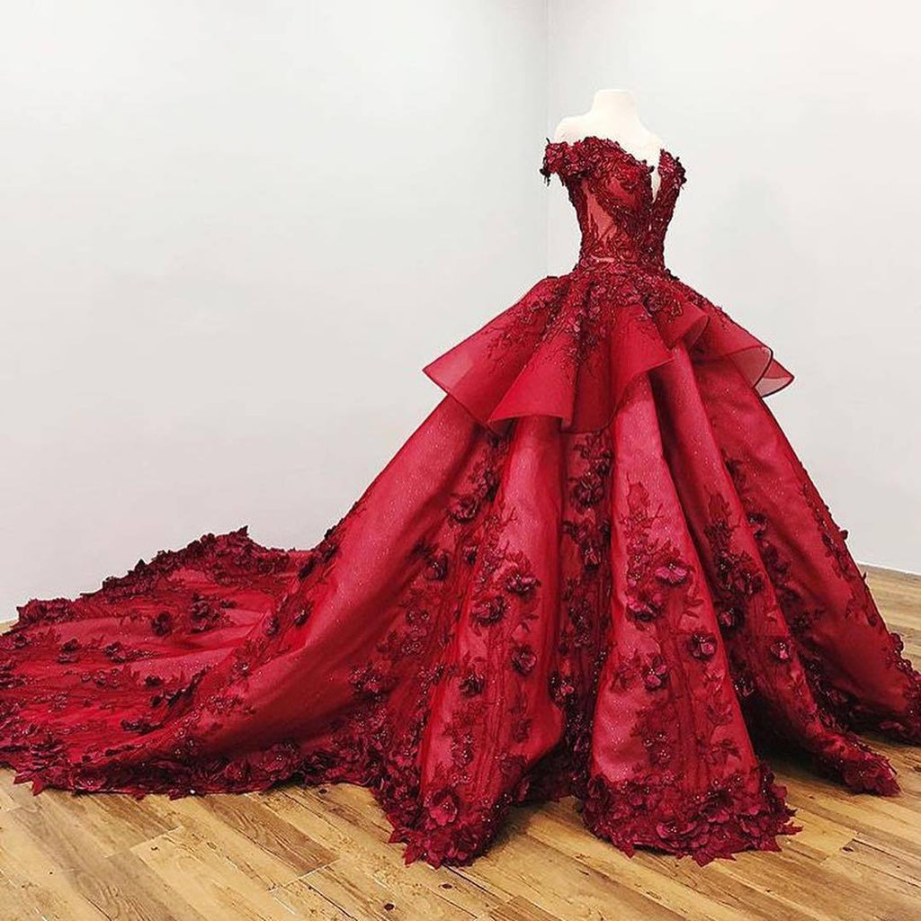 Chic Ball Gown V Neck Beads Appliques Red Off-the-Shoulder Long Prom Dresses JS139