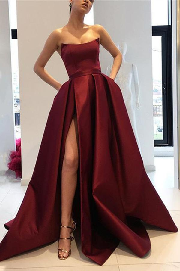 Burgundy Strapless Bodice Corset Long Sleeveless Evening Gowns With Leg Split Prom Dress JS723