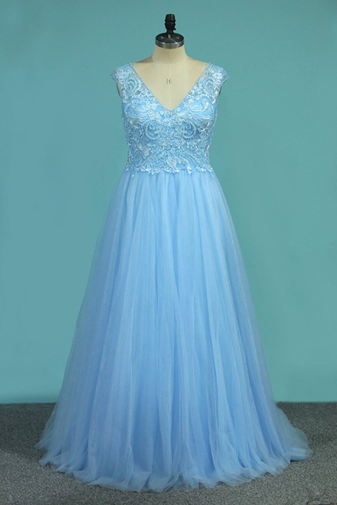 A Line V Neck Tulle Prom Dresses With Applique And Beads Floor Length