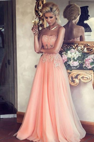 Blush Pink Tulle New Arrival A-line Strapless Lace Appliqued Long Sweet 16 Dress Party JS361