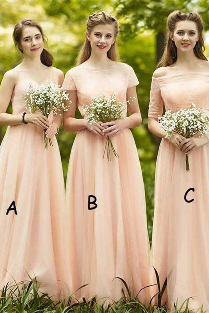 Beautiful Long A-Line Pink Elegant A-Line Lace Tulle Bridesmaid Dresses