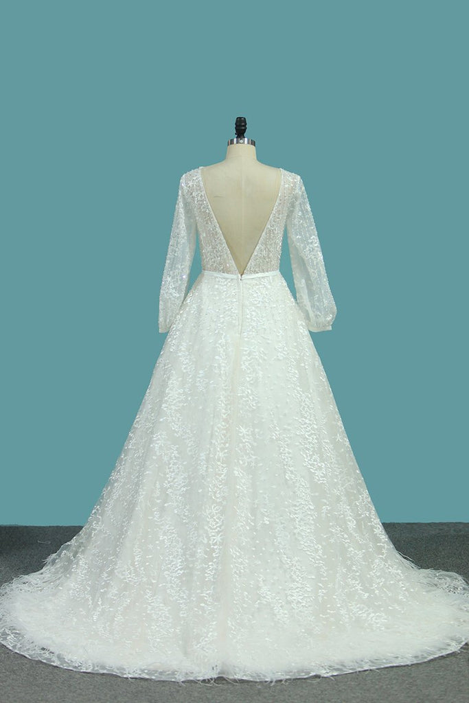 Lace Wedding Dresses A Line Scoop Long Sleeves With Sash Court Train