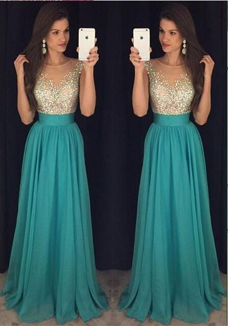 Sexy Crew Neck Chiffon Long Tulle Beaded Stones Top Floor Length Prom Dresses JS162