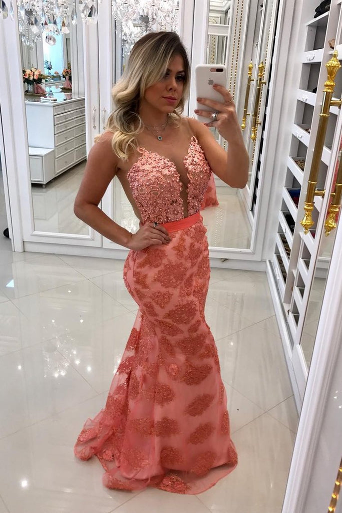 Scoop Lace Mermaid Prom Dresses With Beads And Sash Sweep Train
