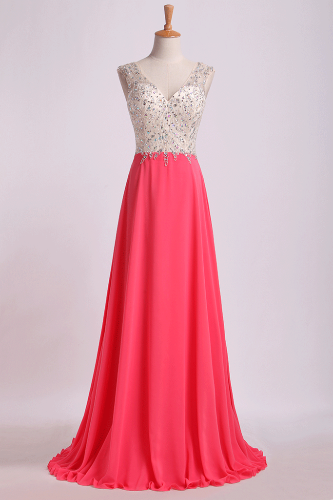V Neck Beaded Bodice Prom Dresses A Line Sweep Train Chiffon&Tulle