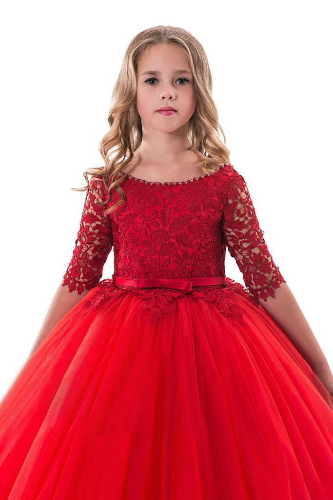 New Arrival Scoop Ball Gown Flower Girl Dresses Mid-Length Sleeves Tulle