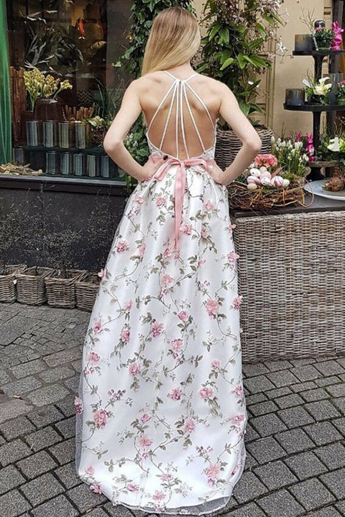 A Line V Neck Spaghetti Straps Flower Lace Long Prom Dresses Party Dresses