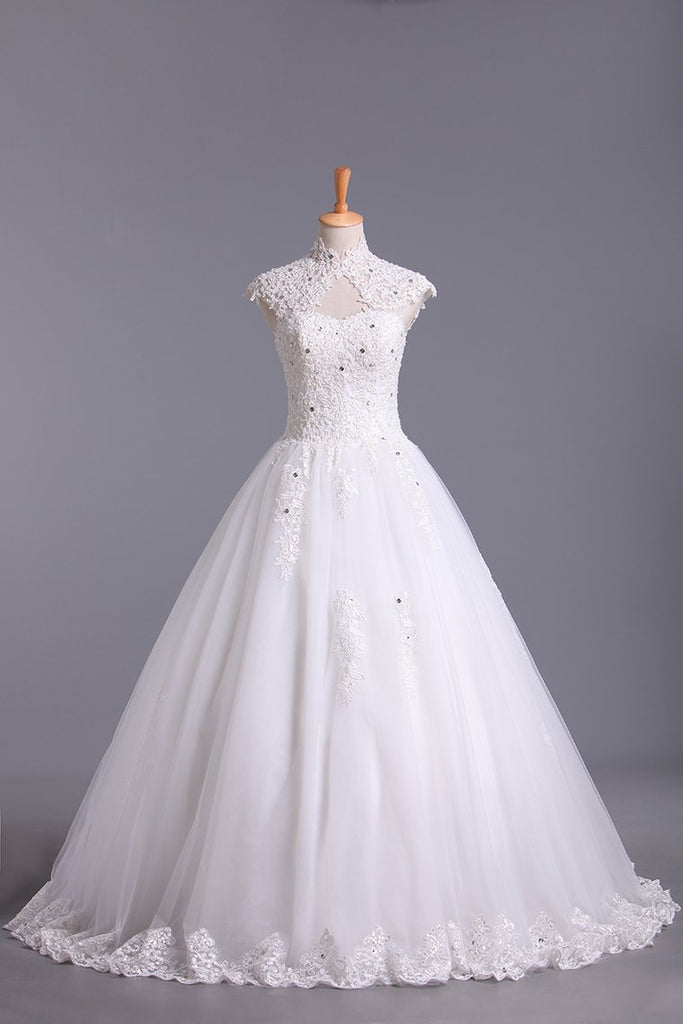 High Neck A Line Wedding Dresses Tulle With Applique & Beads