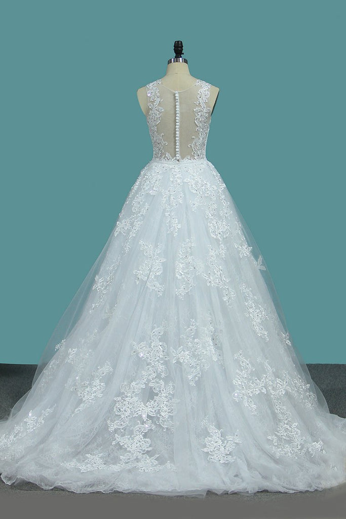 Scoop Tulle Mermaid With Applique Court Train Detachable Wedding Dresses