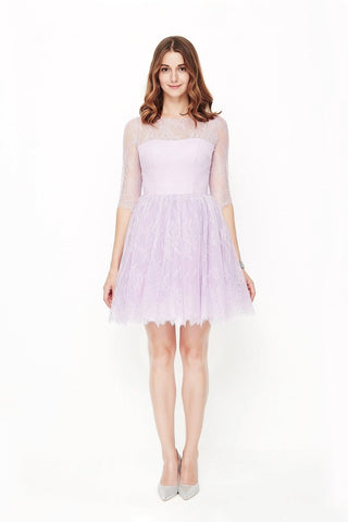 New Arrival Homecoming Dresses A Line Scoop Mid-Length Sleeves Lace