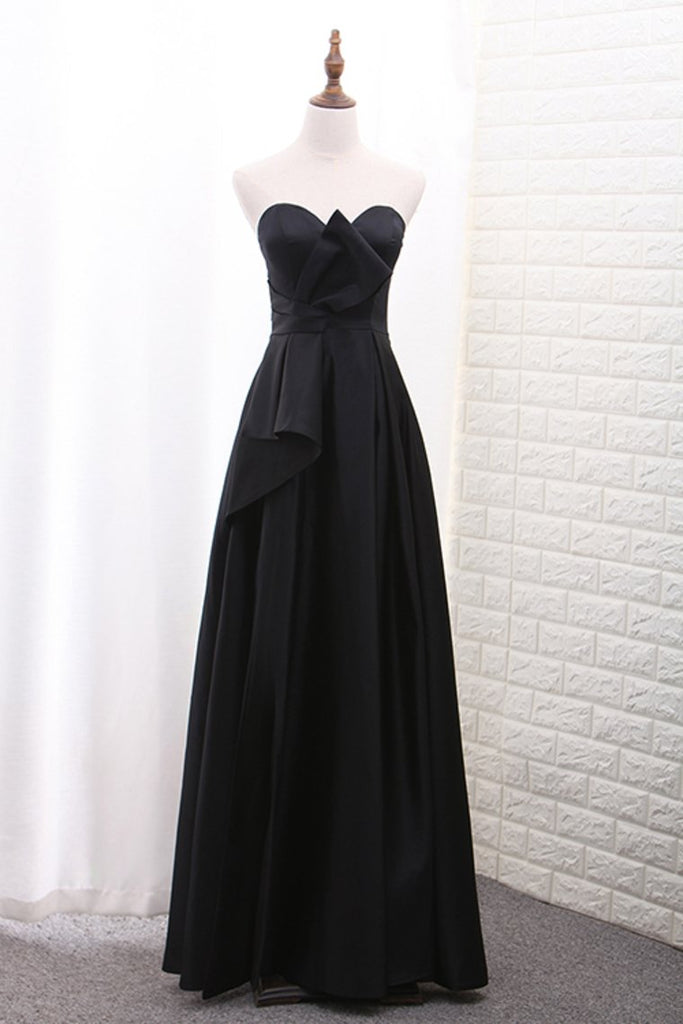 Evening Dresses Sweetheart Satin With Slit A Line Floor Length