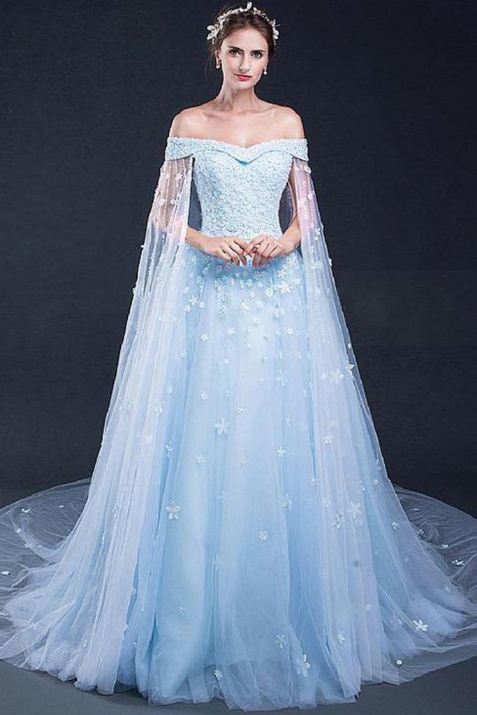 Light Sky Blue Prom Dresses Sweep/Brush Train Tulle Prom Dress/Evening Dress