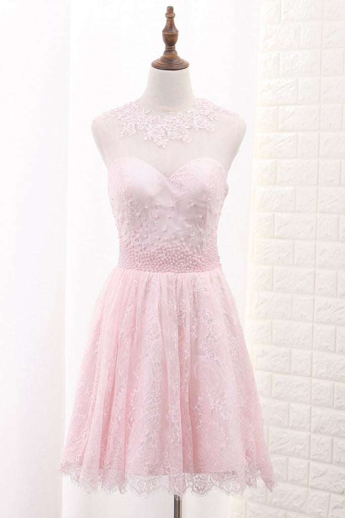 Lace Homecoming Dresses A Line Scoop With Applique And Beads