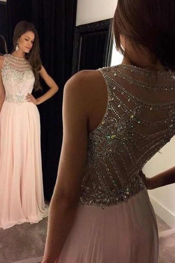 Chiffon Crystal A-Line/Princess Scoop Long Prom Dress