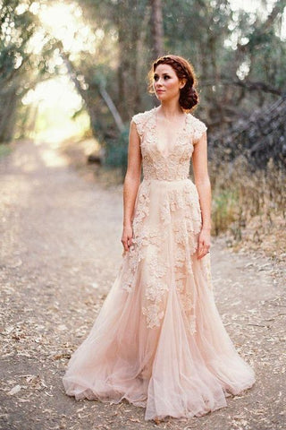Long Tulle Vintage Romantic Unique A-Line Appliques Wedding Dresses