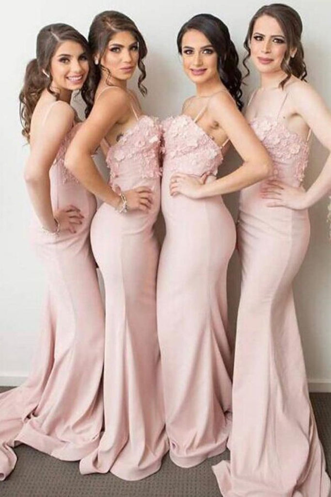 Spaghetti Straps Long Sheath Mermaid Long Pink Bridesmaid Dresses