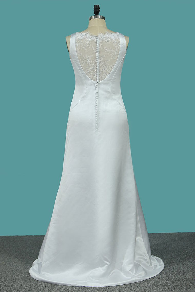Scoop Satin A Line Wedding Dresses With Bow Knot Sweep Train