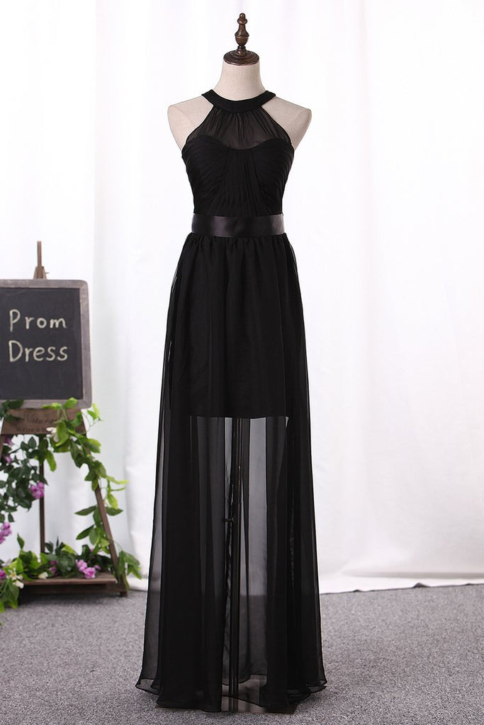 Scoop Chiffon Bridesmaid Dresses A Line With Ruffles Floor Length