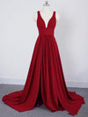 A Line Deep V Neck Cheap Bridesmaid Dresses For Wedding Simple Prom Dress