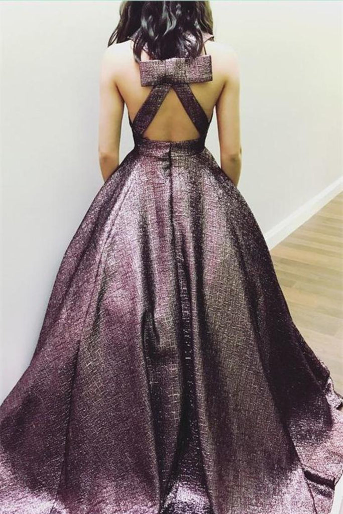 Gorgeous Long V-Neck Open Back Princess Prom Dresses With Pockets
