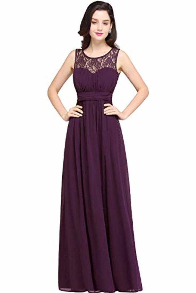 Elegant Chip A-Line Chiffon Evening Bridesmaid Ball Gown Long Dress