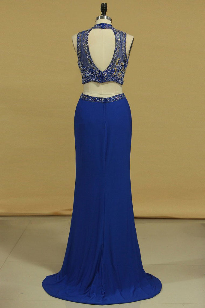 Two Pieces Column Prom Dresses High Neck With Beading Spandex