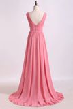 2019 V Neck A Line Chiffon Bridesmaid Dress With Beads Floor Length