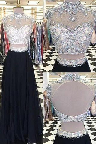 Glamorous Two Piece High Neck Cap Sleeves Long Black Prom Dress with Beading Open Back JS781
