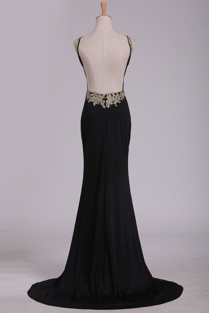 Sexy Open Back Scoop Mermaid Spandex With Beads And Applique Prom Dresses